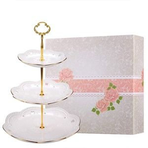 Beautiful 3-Tier Porcelain Embossed Cupcake Stand